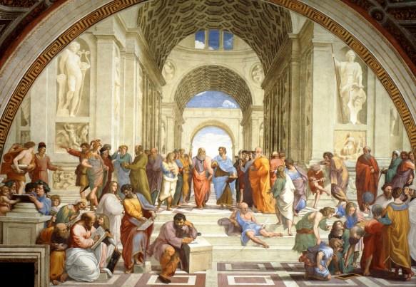 Escola de Atenas, de Rafael Sanzio, com Platão e Aristóteles no centro