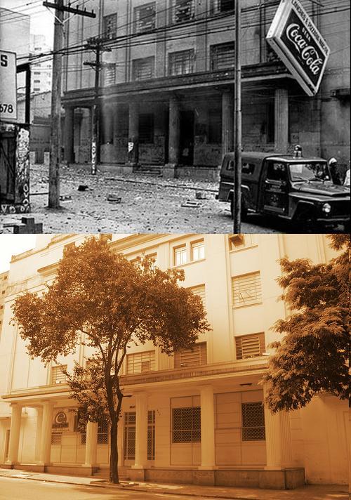 fachada da usp na Maria Antonia em 68 e hoje