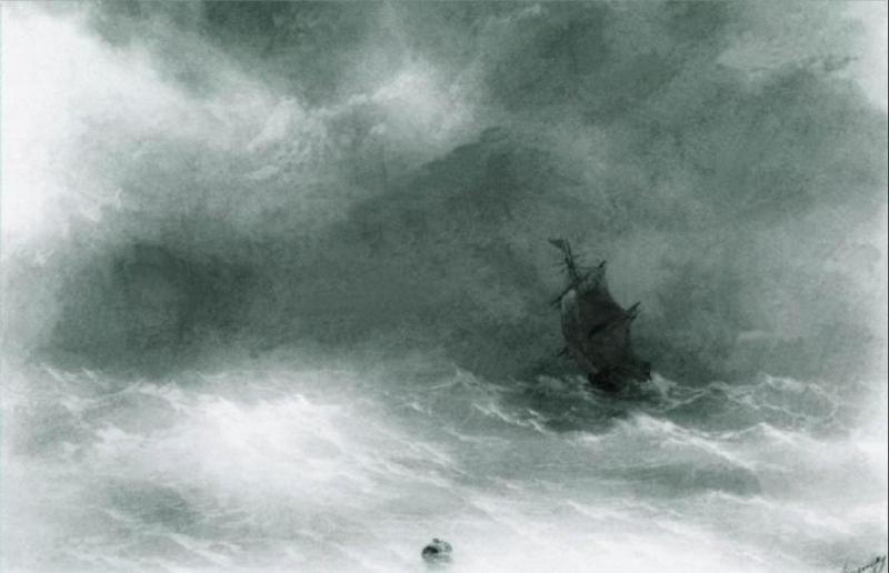 Strong wind - Ivan Aivazovsky, 1856