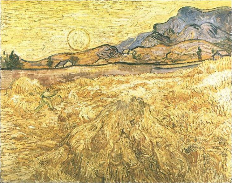 Van Gogh, Wheat Field with Reaper and Sun