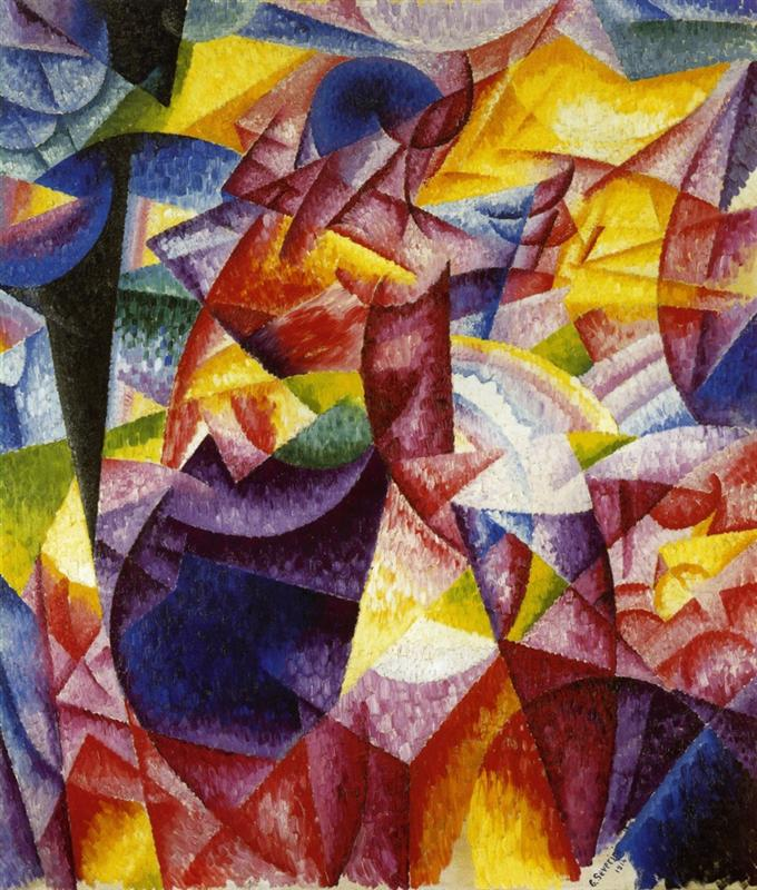 simultaniety of centrifugal and centripedal groups woman at a window - gino severini