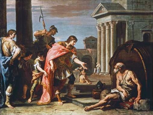 Alexandre e Diógenes, por Sebastiano Ricci