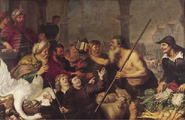 Diógenes procurando um homem, por Cornelis de Vos